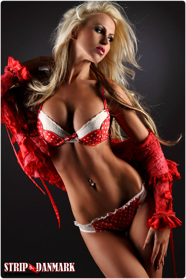 Blonde Babe In Red And White Lingerie
